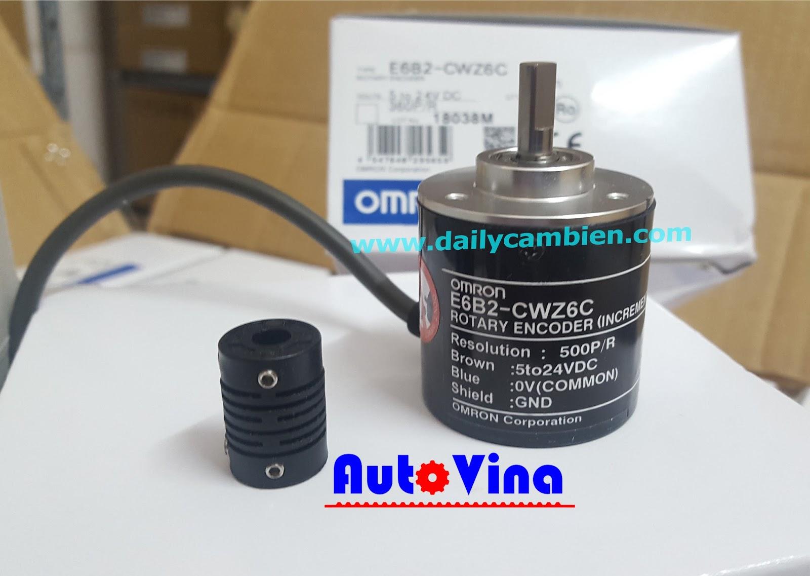 Đại lý bán Encoder Omron E6B2-CWZ6C 500 xung, nguồn cấp 24VDC