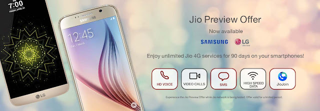Jio Preview Offer now available for Samsung and LG Smartphone: How to Avail