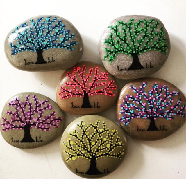 tree of life seasonal tree rock painted rocks
