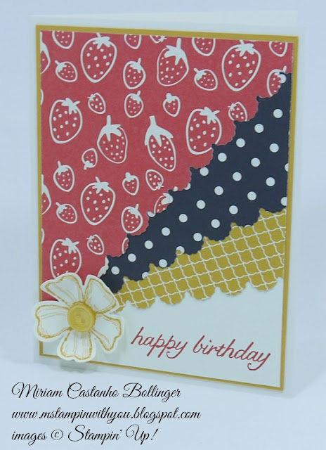 Miriam Castanho Bollinger, #mstampinwithyou, stampin up, demonstrator, ccmc, sc, birthday card, modern medley, regals collection dsp, sweet li'l things dsp, birthday blossoms stamp set, big shot, adorning accents, pansy punch, su
