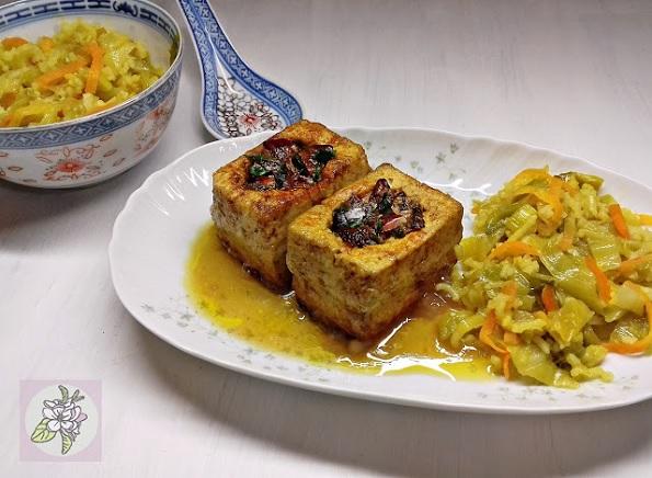 Tofu Relleno al Estilo Chino. Receta Vegana.