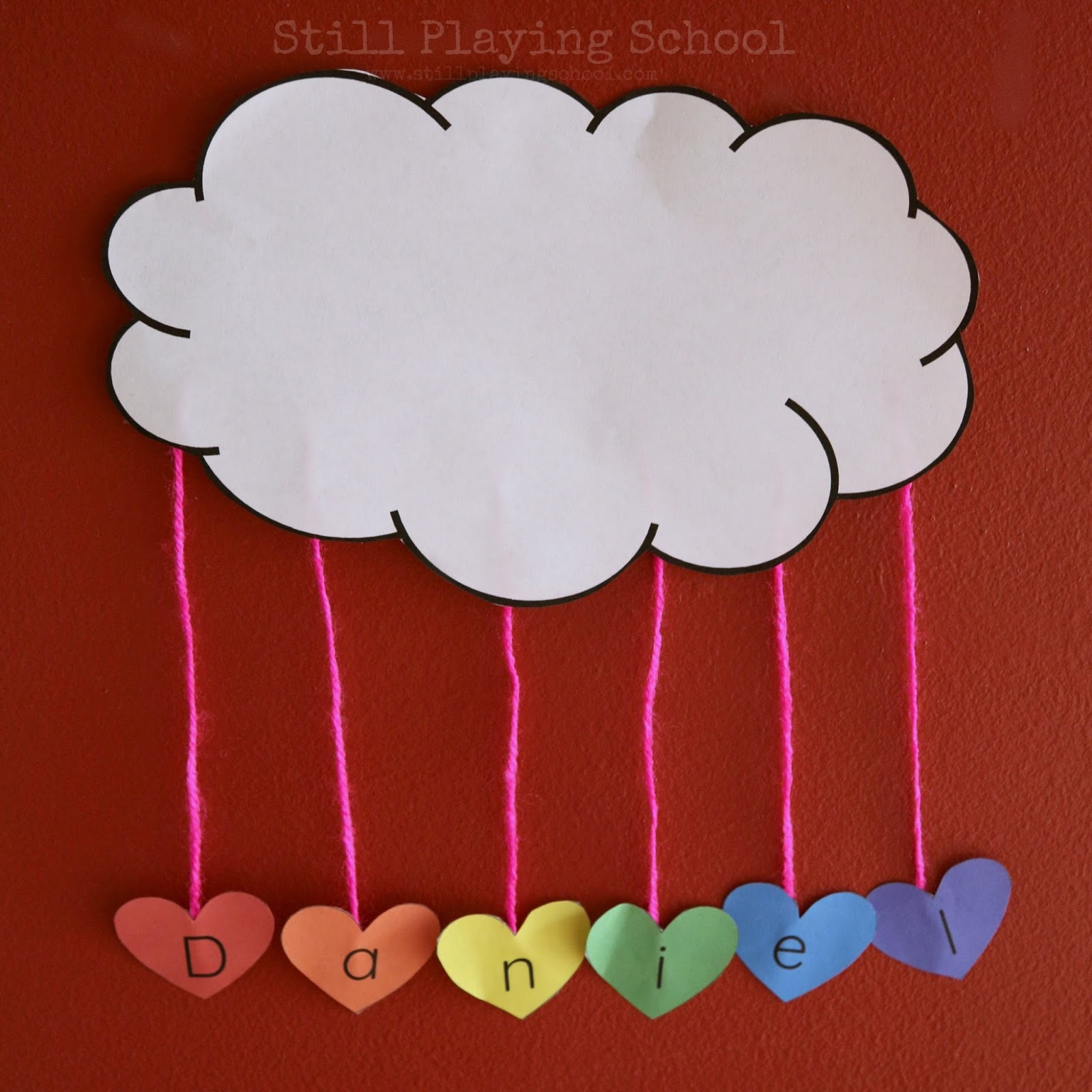Raining Hearts Name Craft