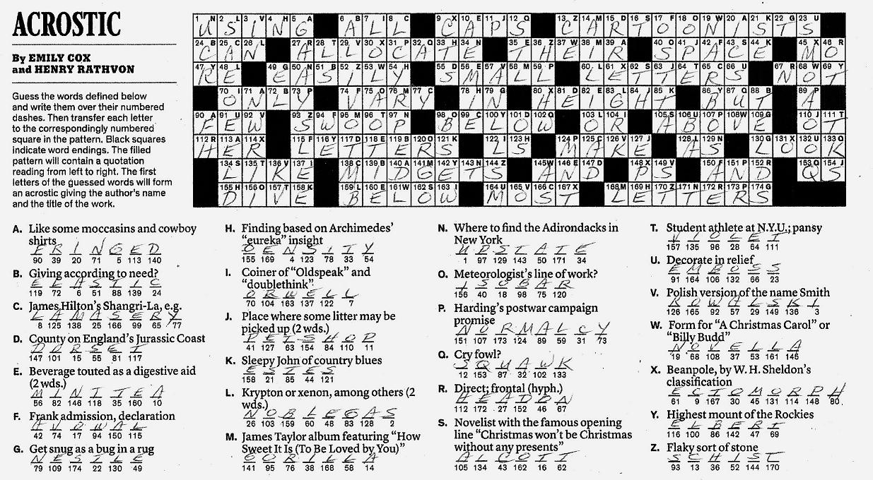 photo relating to Acrostic Puzzles Printable titled The Refreshing York Occasions Crossword in just Gothic: 07.31.11