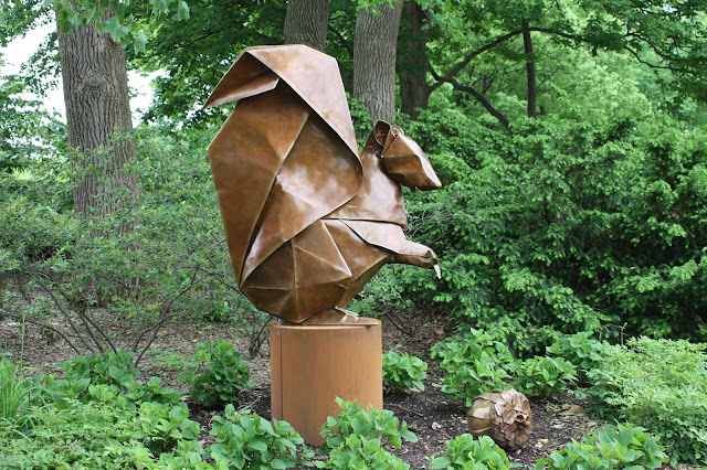 Seed Sower Squirrel Origami Sculpture at The Morton Arboretum