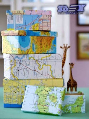 boxes from world map, world map artwork for interior home decor and gifts