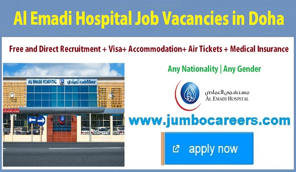 Qatar Al Emadi hospital jobs with accommodation, Nurses jobs in Qatar,
