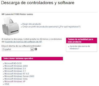 Imagen de diferentes drivers para impresoras HP.