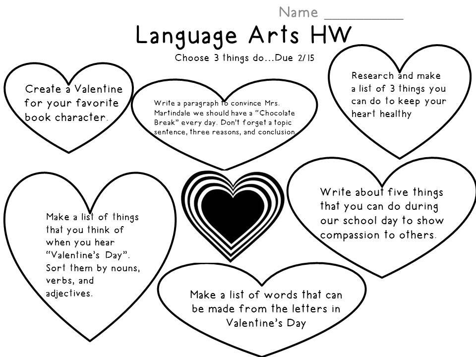 Lang Logistics: Language Arts HW for this week...