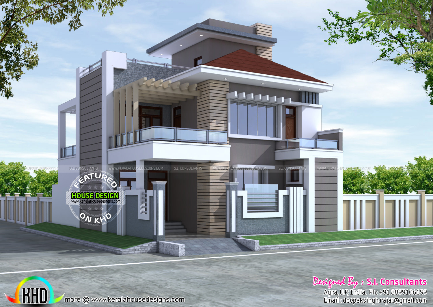New decorative contemporary home kerala home design and House plans indian style in 1200 sq ft