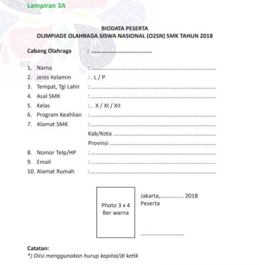 Form Biodata Peserta O2SN SMK 2018