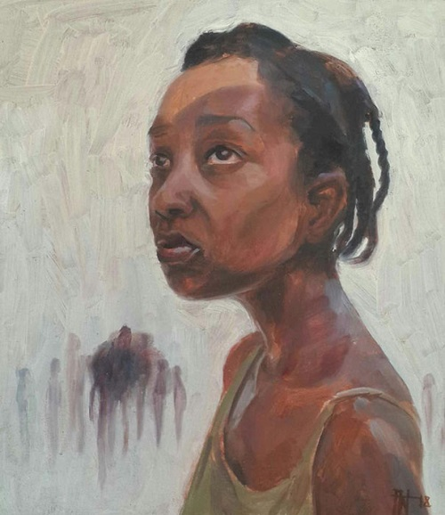 """They Are Calling Back For You"" by Florence Wangui - 2018 - Oil on board 