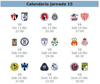 Calendario de juegos de la jornada 14 del futbol mexicano