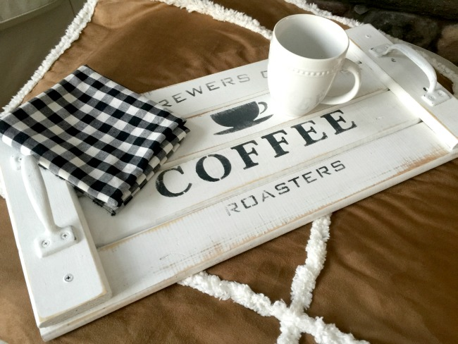 rustic wooden tray with Old Sign Stencils