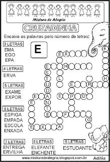 Cruzadinha com a letra E