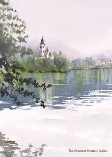 水彩画 湖上の教会