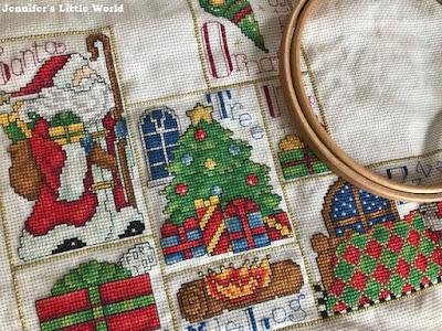 Design Works Christmas ABC Sampler in progress