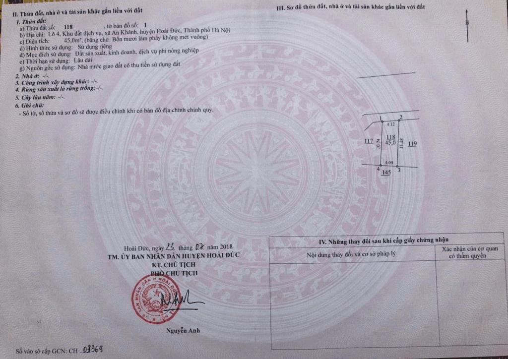 Sổ đỏ dự án Nam An Khánh