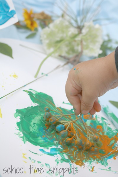 toddler art and craft painting with nature