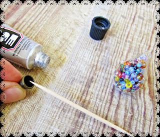 image diy miniature christmas bauble ornament tutorial beaded glue a bead cap to the top of the bottle as a lid