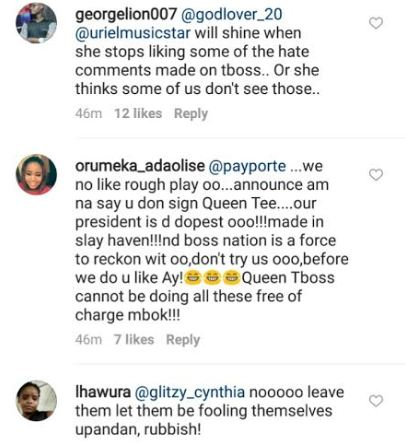 #BbNaija: Tboss' Fans Blast Payporte For Accrediting A 'Sold Out' Dress To Uriel Instead Of Tboss