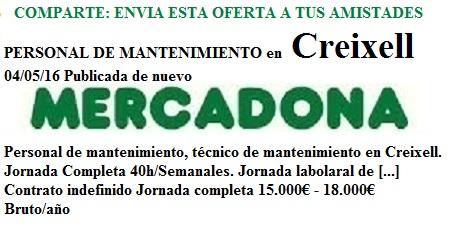 Creixell, TarragonaLanzadera de Empleo Virtual. Oferta Mercadona