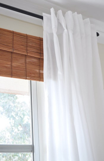 bamboo blinds under sheer curtains