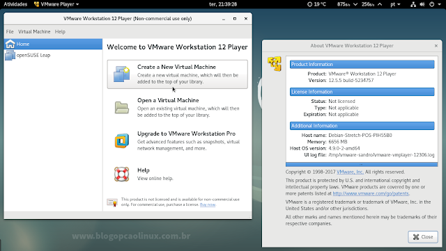 VMware Workstation Player 12.5.5 executando no Debian 9 Stretch