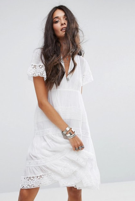Denim & Supply By Ralph Lauren Baby Doll Dress With Lace Frill Hem
