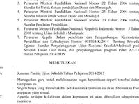 Contoh Surat Keputusan (SK) Pembagian Tugas Panitia Ujian Sekolah