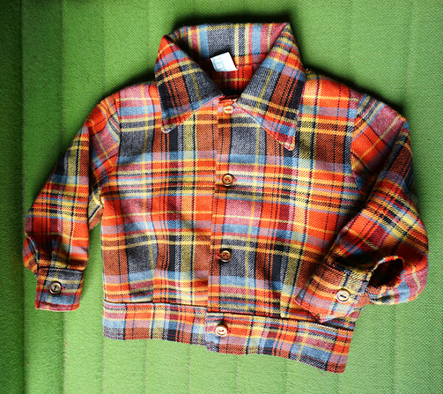 vintage 70s checked jacket kids