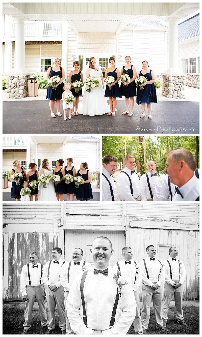 Bay Pointe Inn; Michigan Wedding; Gun Lake; navy; Michigan Wedding Photos; lakeside wedding, gold accents, redhead bride, unique guest book, munro photography