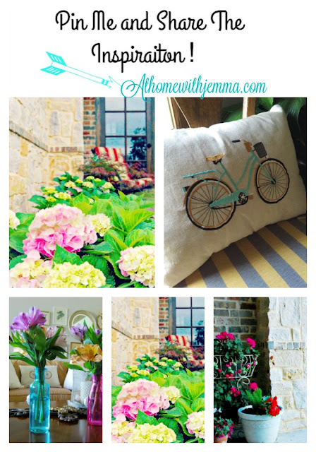 aqua, pink, glass bottles, jars, hydrangeas, decorative pillows, bike pillow, french doors