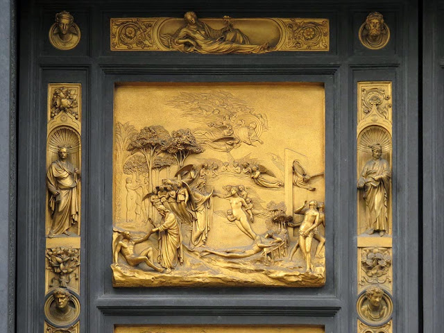 Adam and Eve, copy of the original bronze panel of the Gates of Paradise by Lorenzo Ghiberti, Baptistry of Saint John, Florence