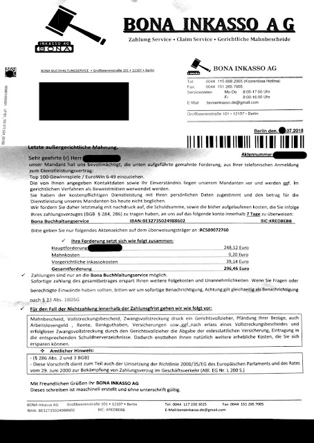 "Scan: Forderung der ""Bona Inkasso AG"" / Juli 2018"