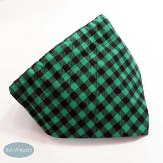 Buffalo Plaid Christmas Dog Bandana, Green and Black