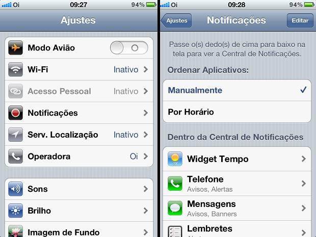 Colocando as notificações no modo Manual no iPhone para deixá-lo mais rápido