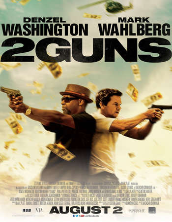Poster Of 2 Guns 2013 Dual Audio 720p BRRip [Hindi - English] ESubs Free Download Watch Online Worldfree4u