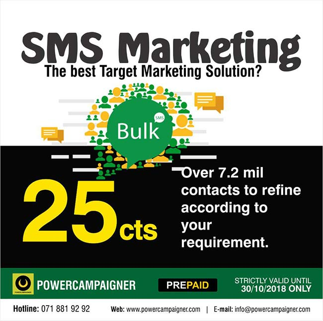 BULK SMS MARKETING. The best Target Marketing Solution?  Over 7.2 mil contacts to refine according to your requirement.  25 cents per SMS without sender name ( Masking ) Minimum quantity 25000.  35 cents per SMS with sender name ( Masking ) Minimum quantity 25000.  Contact us for other quantities and to select target contacts  #smsmakreting #powercampaigner #targetmarkeitng
