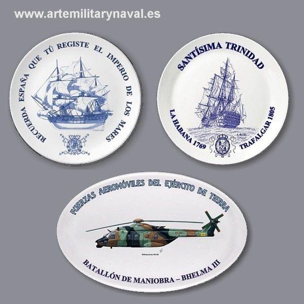 Platos artisticos de tematica militar y naval