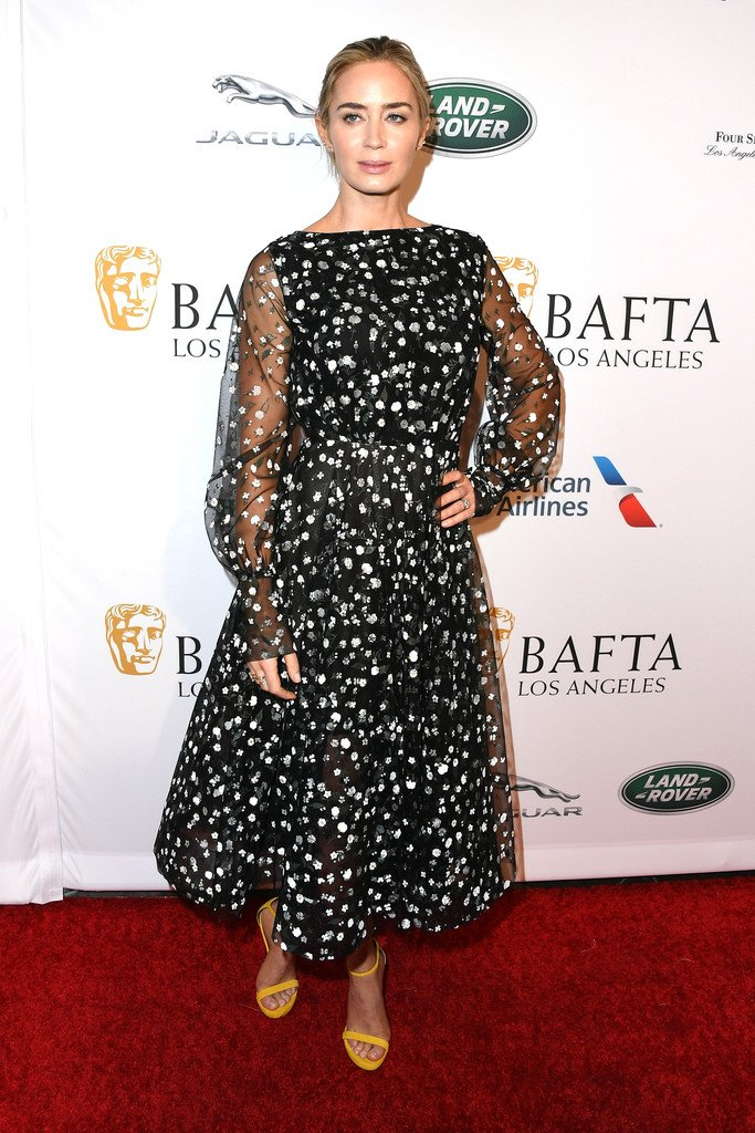 Emily Blunt wears Oscar de la Renta to the BAFTA Tea Party