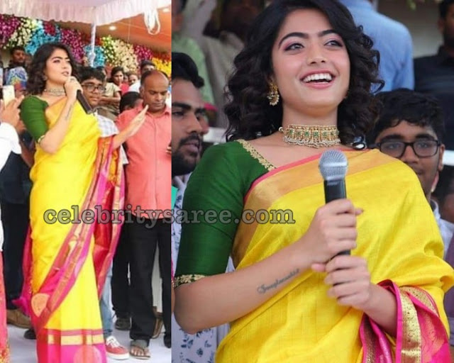 Rashmika Mandanna in Yellow Pink Silk Sari