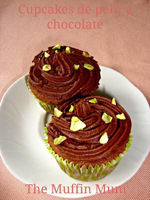 Cupcakes de pera y chocolate