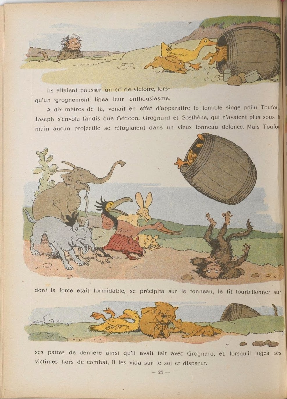 comical colour vignettes of animals behaving as people in 1930s French children's book