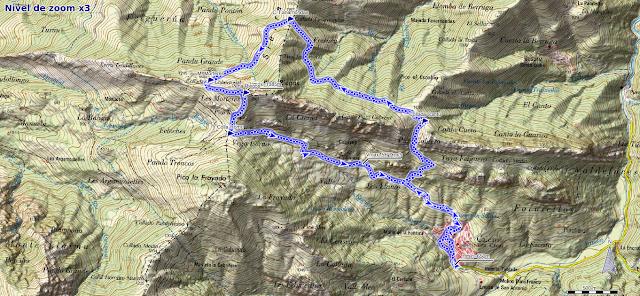 Mapa de Peña Riegos desde Caleao