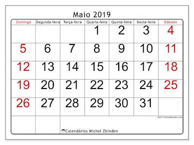Calendário maio/2019