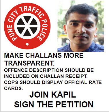 Kapil sir's petition for Pune Traffic Police