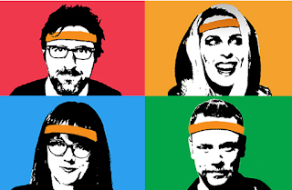 Picture of Mark Watson, Sara Pascoe, Angela Barnes, and Rufus Hound, all wearing gym-style headbands.