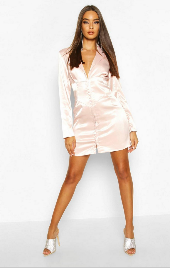 Satin Corset Detail Blazer Dress