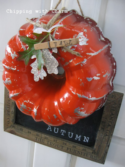 Chipping with Charm: Bundt Pan Pumpkin Wreath...http://www.chippingwithcharm.blogspot.com/