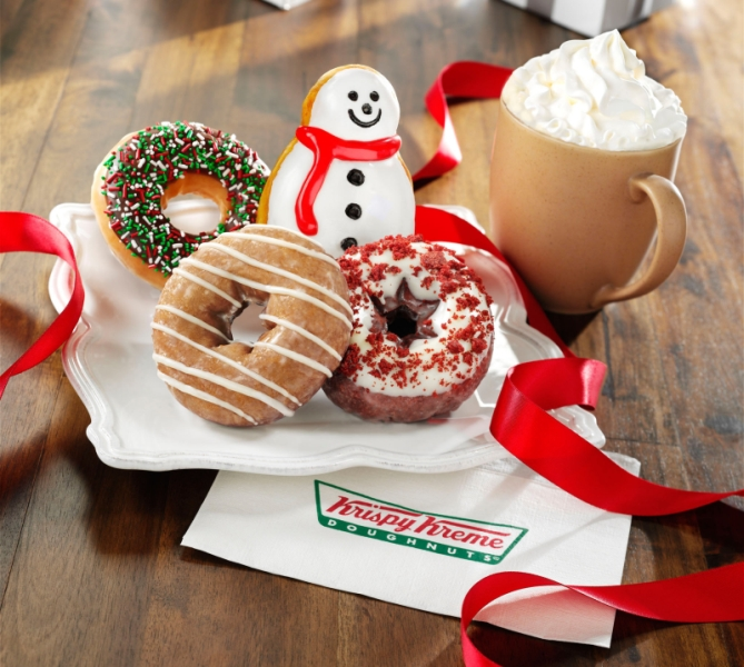 Christmas themed donuts, so cute! | Yelp |Christmas Krispy Kreme Doughnuts